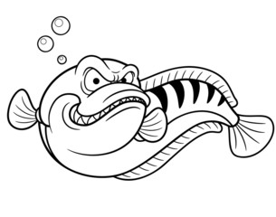 illustration of Giant snakehead fish - Coloring book