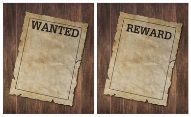 wanted poster on old wooden wall