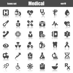 medical icons gray reflex