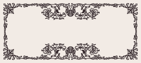 Antique Ornate Frame Scalable And Editable Vector Illustration