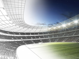 Wall Mural - Stadion 3D CAD Rendering