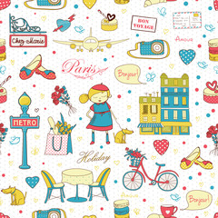 Door stickers Doodle Paris Travel background