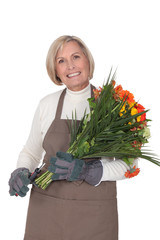 Horizontal image of female florist