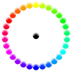 Glossy balls with different rgb colors in a circle