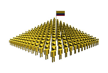 Pyramid of abstract people with Colombian flag illustration