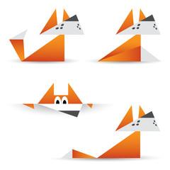 Canvas Prints Geometric animals Origami foxes
