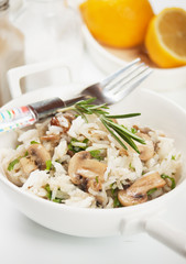Risotto with herbs and mushrooms