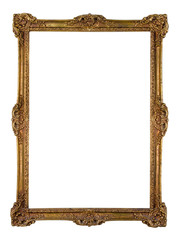 Vintage golden picture frame isolated