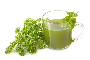 Healthy green vegetable juice with  parsley