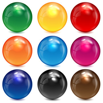 set of colored spheres on a white background