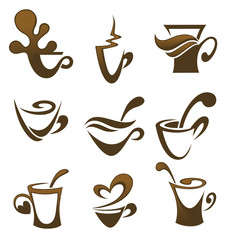 coffee and tea, vector cups collection