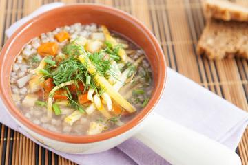Buckwheat soup  in the beautiful tureen
