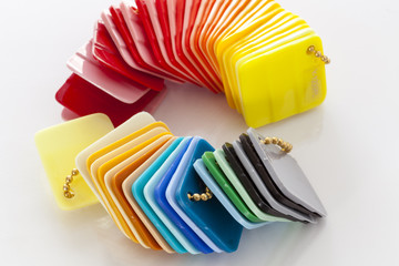 Colorful plastic cards for sampling