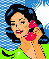 Fotorolgordijn Comics Lady Chatting On The Phone - Retro Clip Art