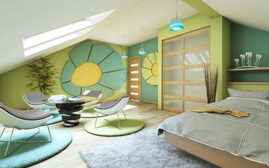 Bright Children Room On Attic