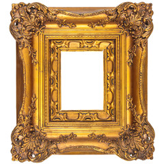 Medieval picture frame isolated on white