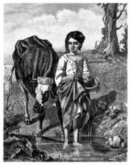 Peasant : Little Cow-Girl - Jeune Vachère