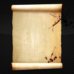 Old vintage scroll on carbon background