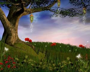 Wall Mural - Enchanted nature series - Enchanted evening hill
