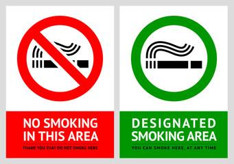 No smoking and Smoking area labels - Set 12