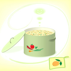 Pot with soup on the yellow background