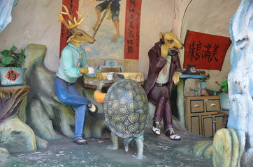 Statues in the Haw Par Villa Gardens in Singapore