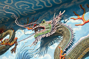 Dragon Statues in the Haw Par Villa Gardens in Singapore