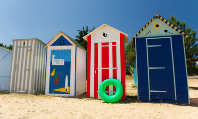 Beach huts on island Oleron in France
