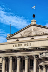 Teatro Solis opera house building at blue sky in Montevideo, Uru