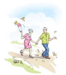 Cool Seniors Walking Outdoors