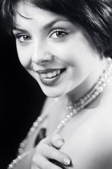 Black and white retro portrait of woman