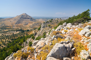 Panoramic view of Rhodes mountain. Rhodes island. Greece.
