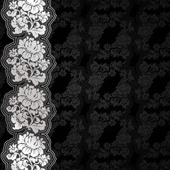 Silver flowers on background