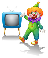 A clown with a television