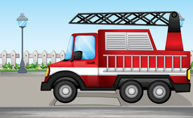 A fire truck at the street