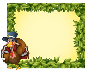 A leafy frame with a turkey