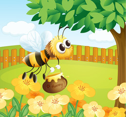 A bee holding a honey while flying