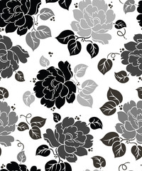 Photo on textile frame Floral black and white Seamless Floral-Wallpaper