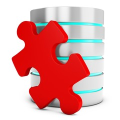 3d database server with red puzzle piece