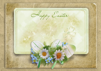 Easter frame with eggs and bunny on a vintage background