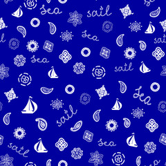 Seamless Pattern with Yachts