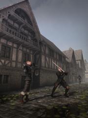 Wall Mural - Medieval Street Fighters