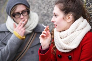 Young couple smoking