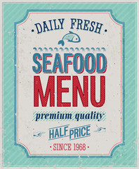 Wall Mural - Vintage SeaFood Poster. Vector illustration.