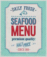 Wall Mural - Vintage SeaFood Poster. Vector illustration.