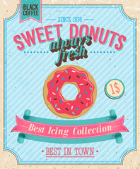 Photo sur Plexiglas Affiche vintage Vintage Donuts Poster. Vector illustration.