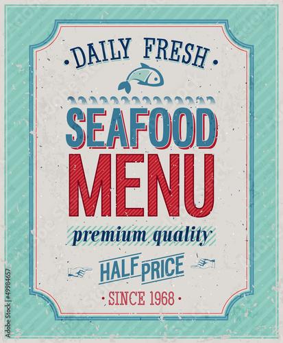 Wall mural Vintage SeaFood Poster. Vector illustration.