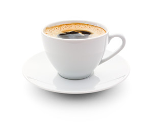 Papiers peints Cafe cup of coffee on white background