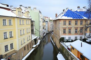 Certovka river in old central Prague.