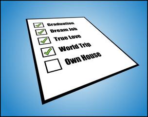 Concept - Life's do list or task list or long term goals